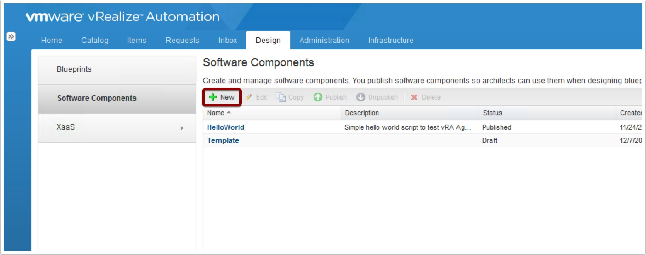 whatever scripts they want as part of a REST API request  Login to vRA  portal as a Cloud Admin  Then go to the Software Components Tab and click  New. The vRA 7 Developer Friendly Blueprint    VMtoCloud com