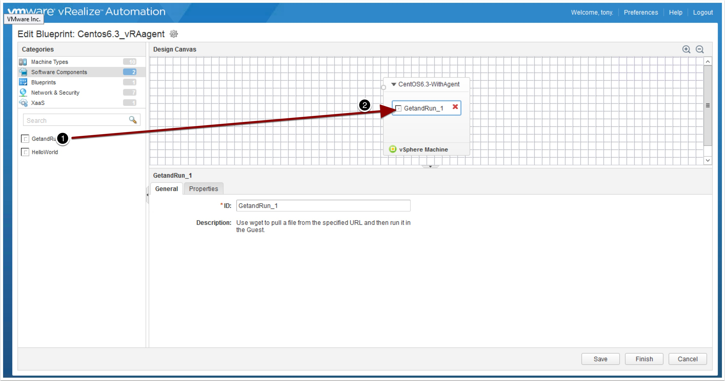 The vra 7 developer friendly blueprint vmtocloud now drag and drop the getandrun component onto the blueprint malvernweather Choice Image