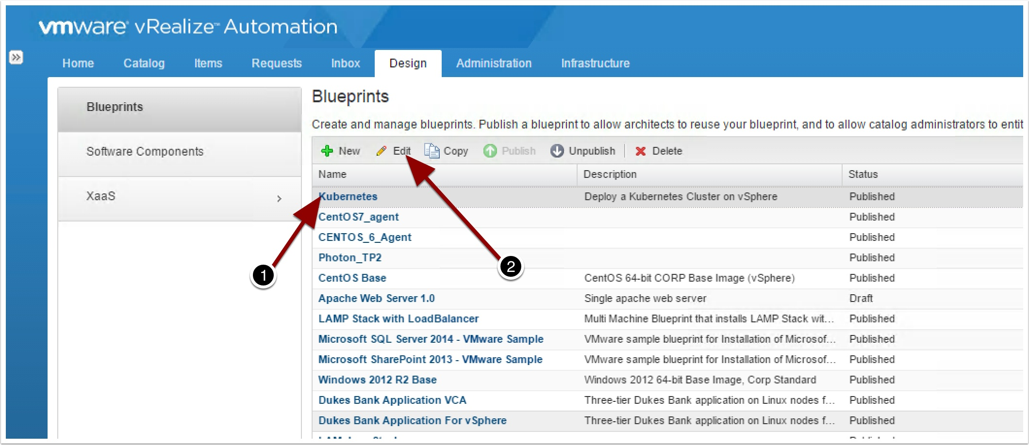 How to import vra7 blueprints as code vmtocloud now login to vra and go to design tab and click on the kubernetes blueprint to edit it malvernweather Choice Image