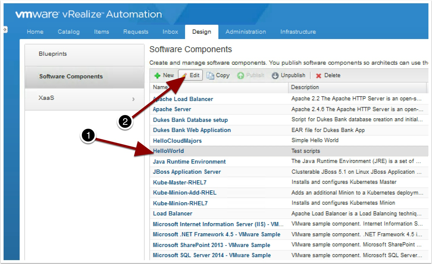 Vrealize automation 7 application authoring deepdive vmtocloud once logged in go to the design tab and software components and lets edit that helloworld script we created earlier malvernweather Image collections