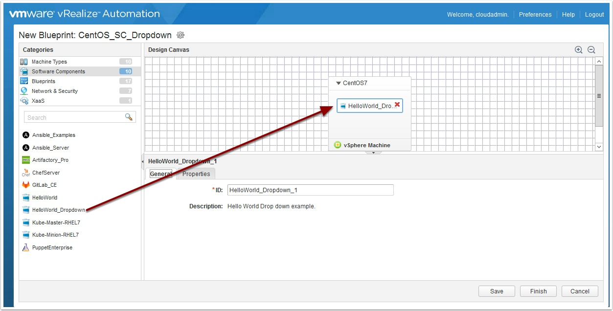How to use drop down lists with vra software components next drag the software component we created earlier onto the blueprint malvernweather Gallery